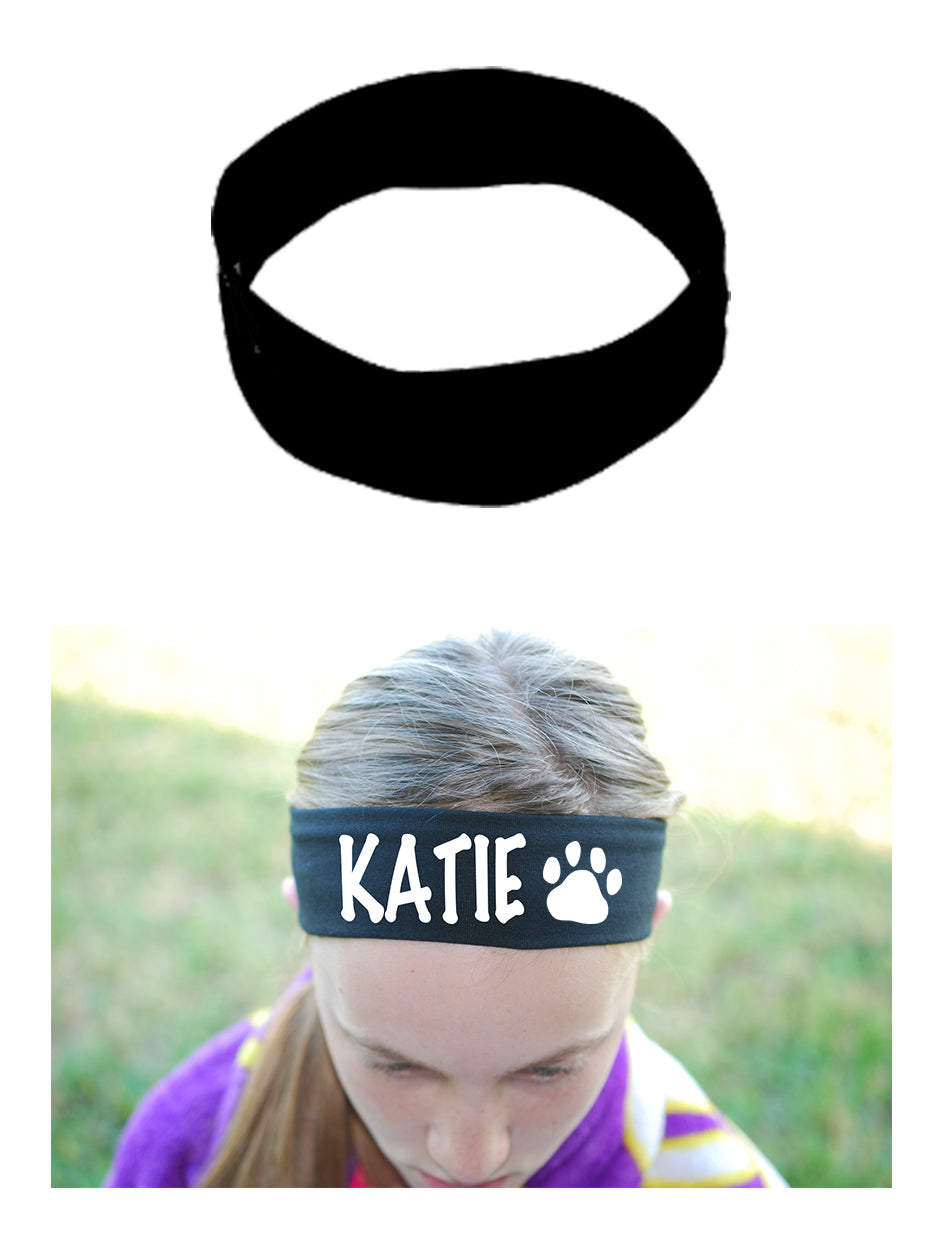 Custom PAW PRINT Cotton Headband - Flat (Non Sparkle) Letters!