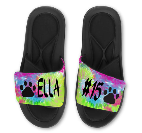 Paw Custom Slides / Sandals -Tie Dye