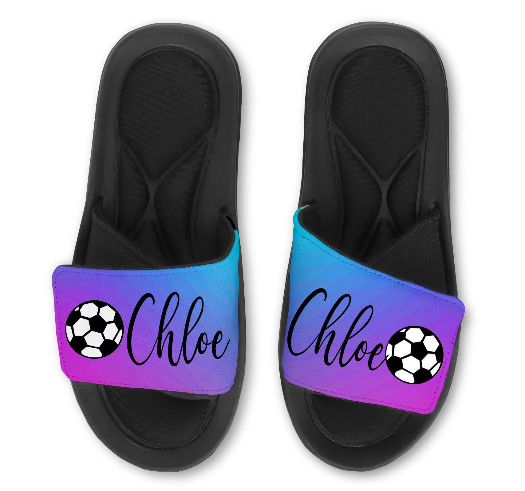 SOCCER  Abstract Custom Slides / Sandals - Choose your Background!