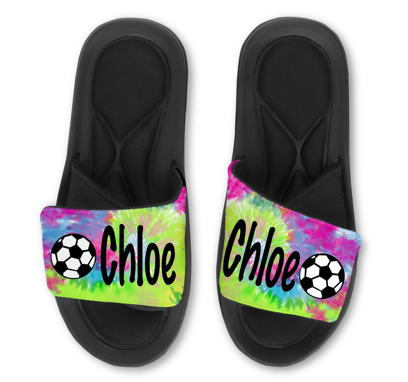 Soccer Tie Dye Custom Slides / Sandals - Choose your Background!