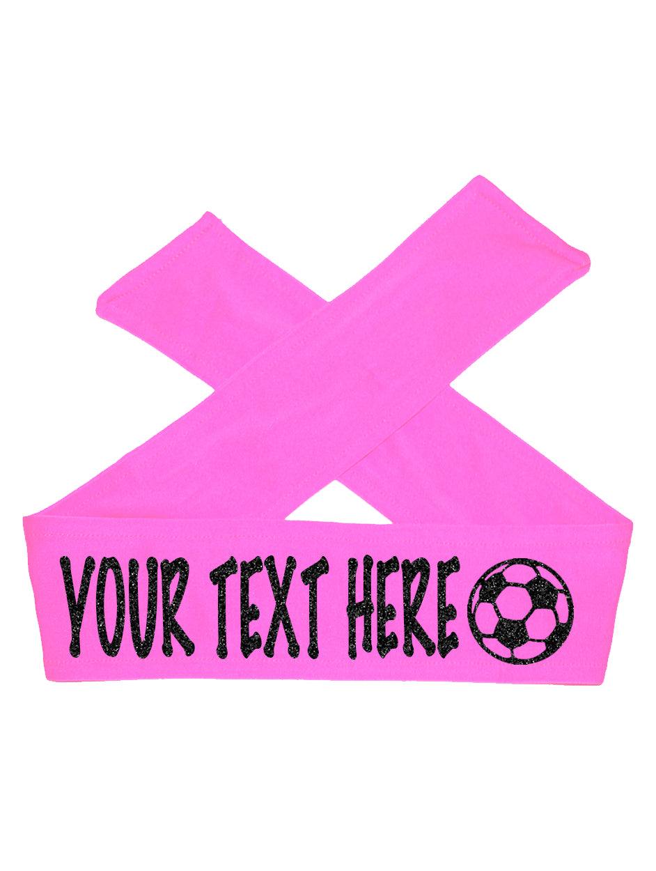 Custom Personalized Soccer TIE Headband - Sparkle Letters!