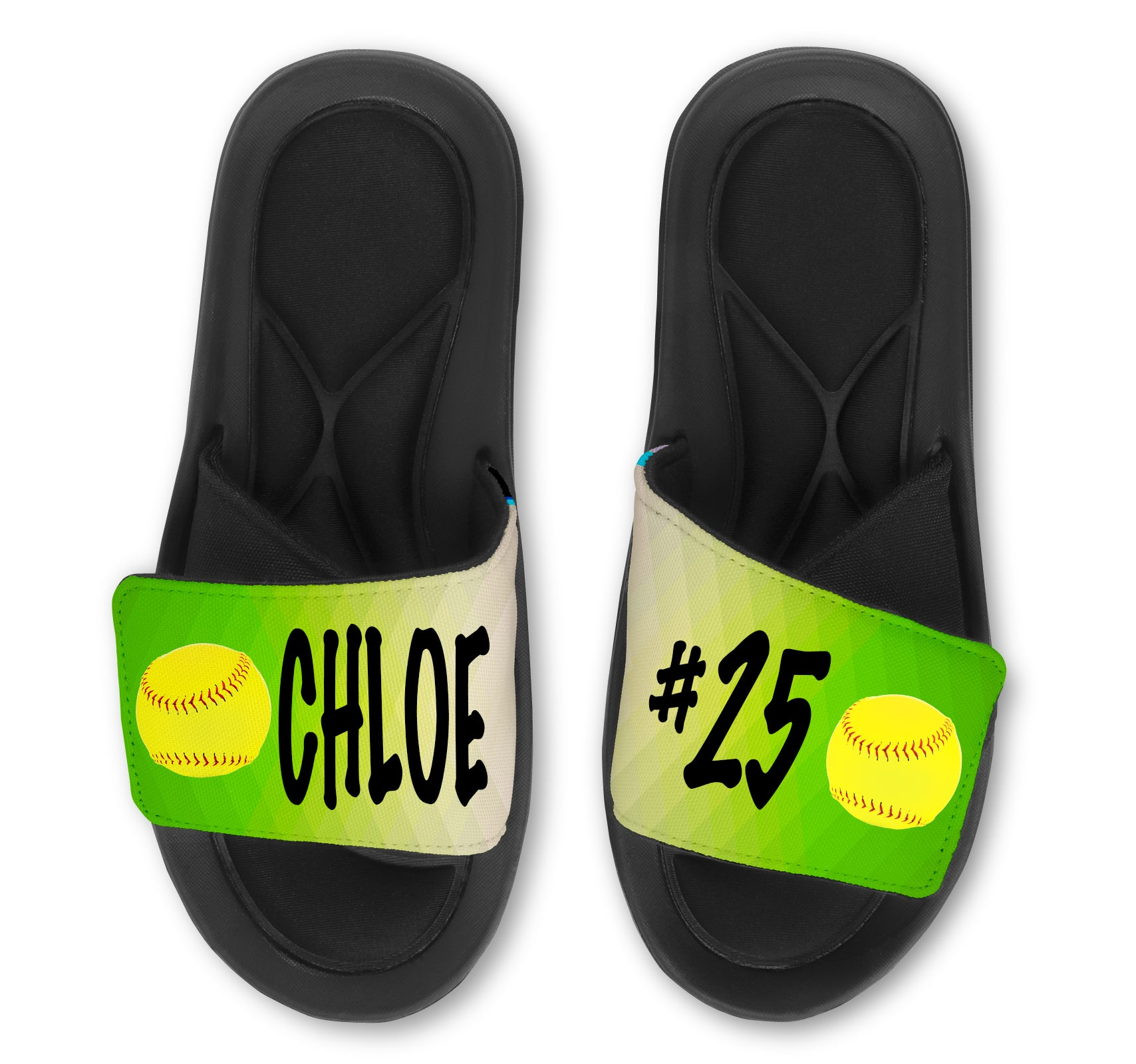 Softball Abstract Custom Slides / Sandals - Choose your Background!