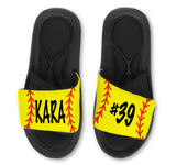 Softball Custom Slides / Sandals -Customize With Your Name Or Number!