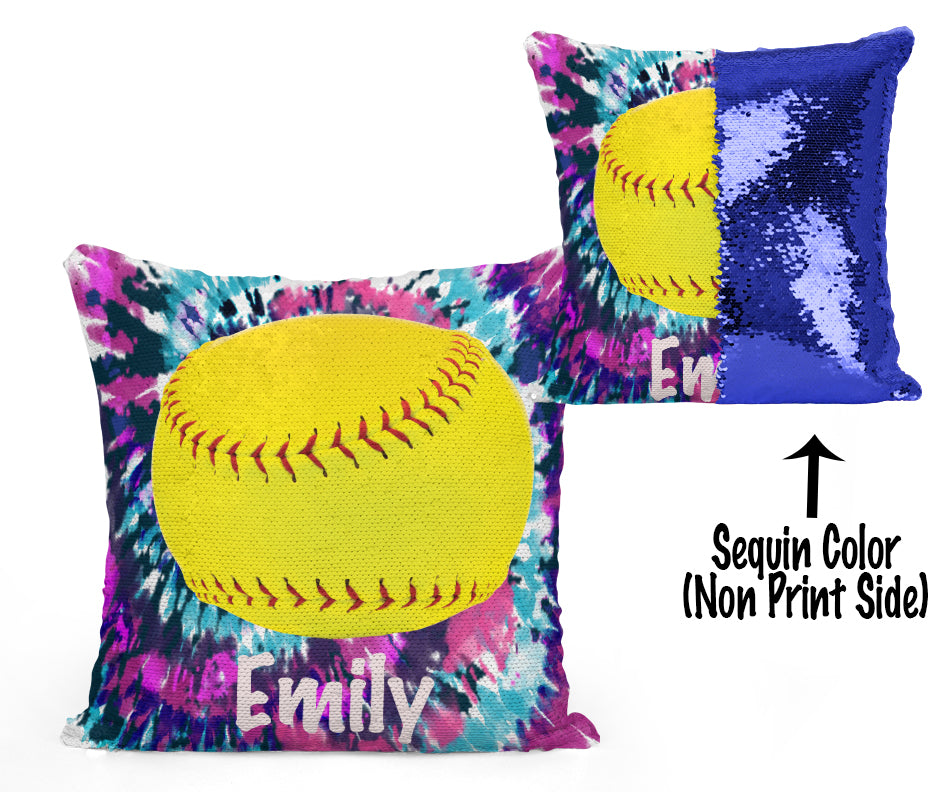 CUSTOM SEQUIN PILLOW - SOFTBALL - Tie Dye