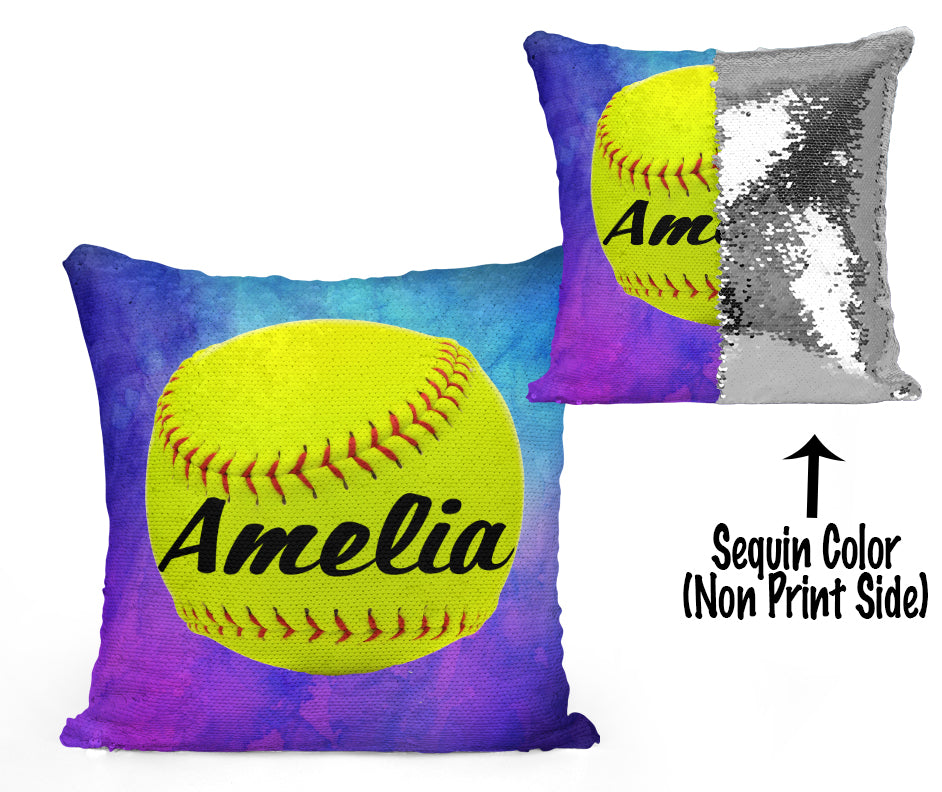 CUSTOM SEQUIN PILLOW - SOFTBALL - Watercolor