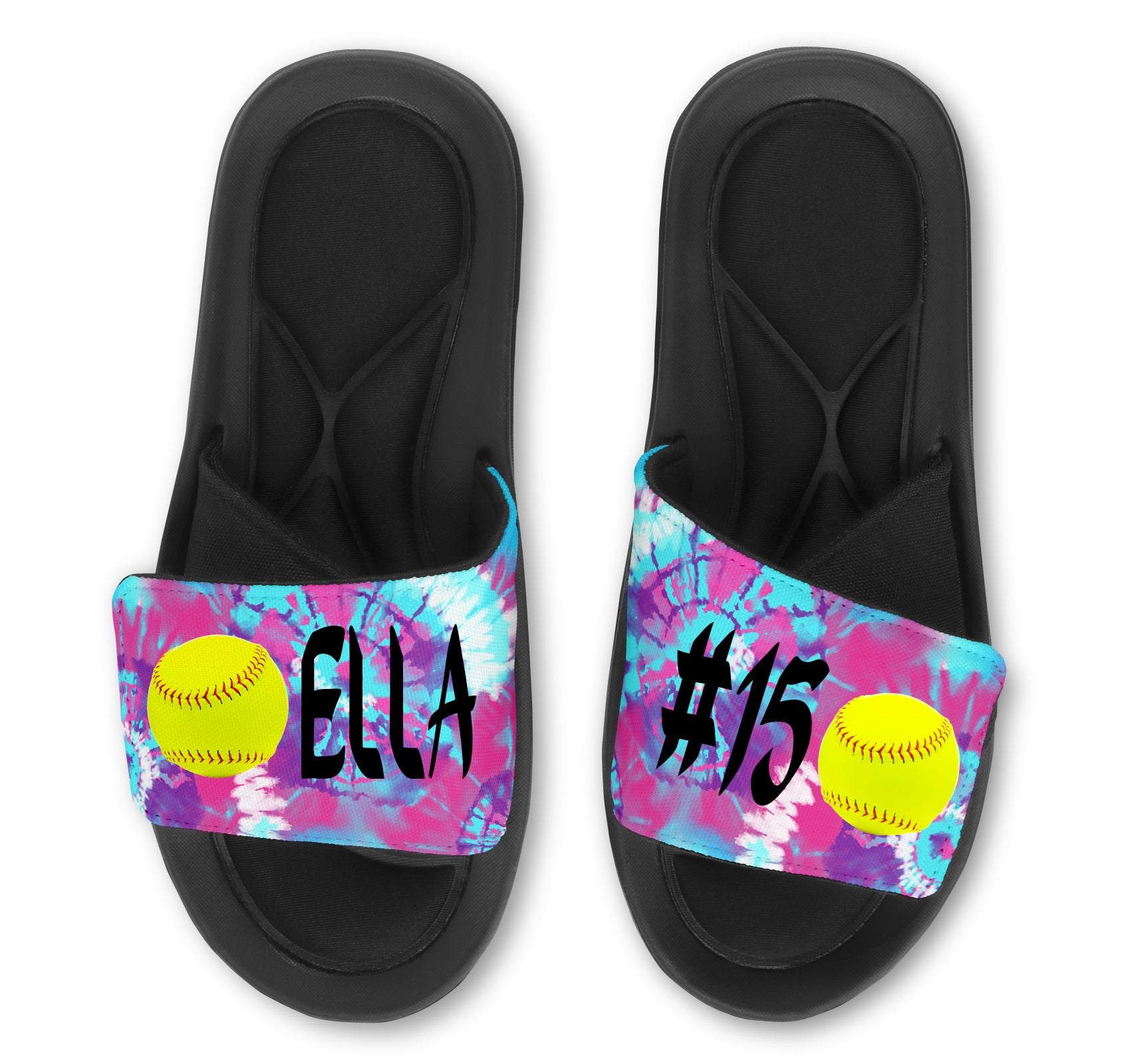 Softball Custom Slides / Sandals -Tie Dye