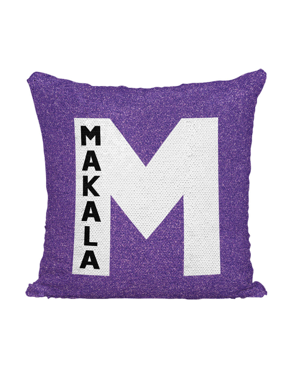 CUSTOM SEQUIN PILLOW - FAUX PURPLE SPARKLE WITH NAME