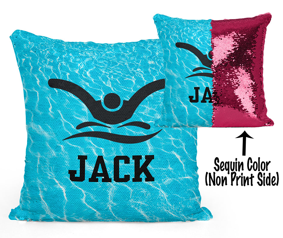 Custom Personalized SWIMMER BUTTERFLY Sequin Mermaid Flip Pillow