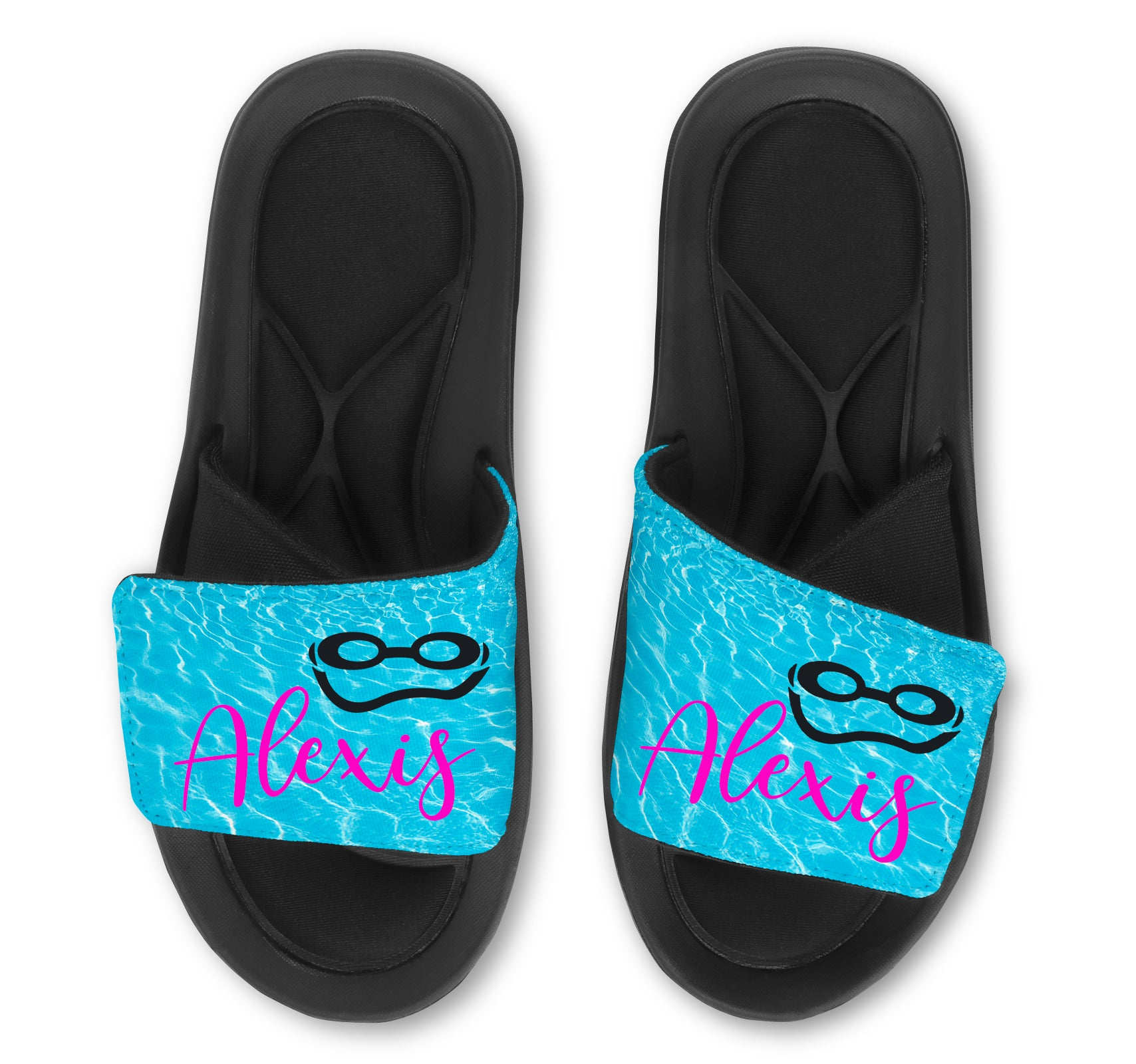 Swim Slides Sandals Flip Flops - Goggles - Add your Name!
