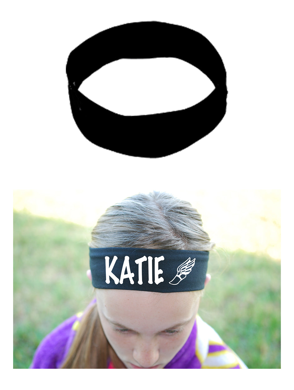 Custom Track & Field Cotton Headband - Flat (Non Sparkle) Letters!