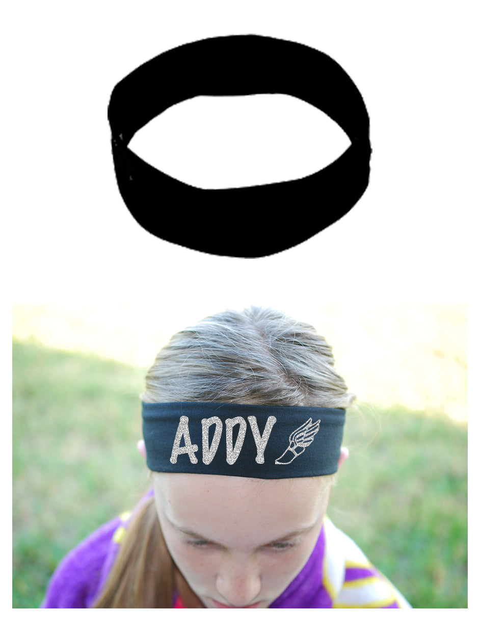 Custom Track Winged Foot Headband (Cotton/Lycra) - Sparkle Letters!