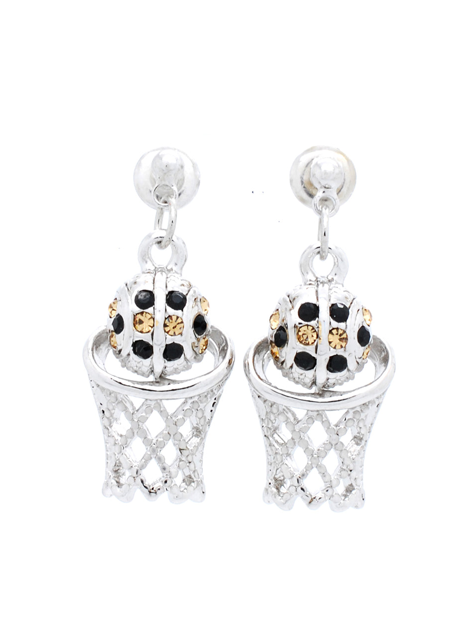 Basketball Earrings POST - Black/Lt Gold