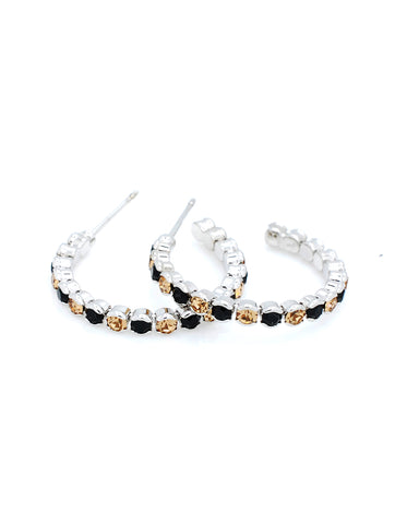 Hoop Earrings Lightweight - Black/Lt Gold
