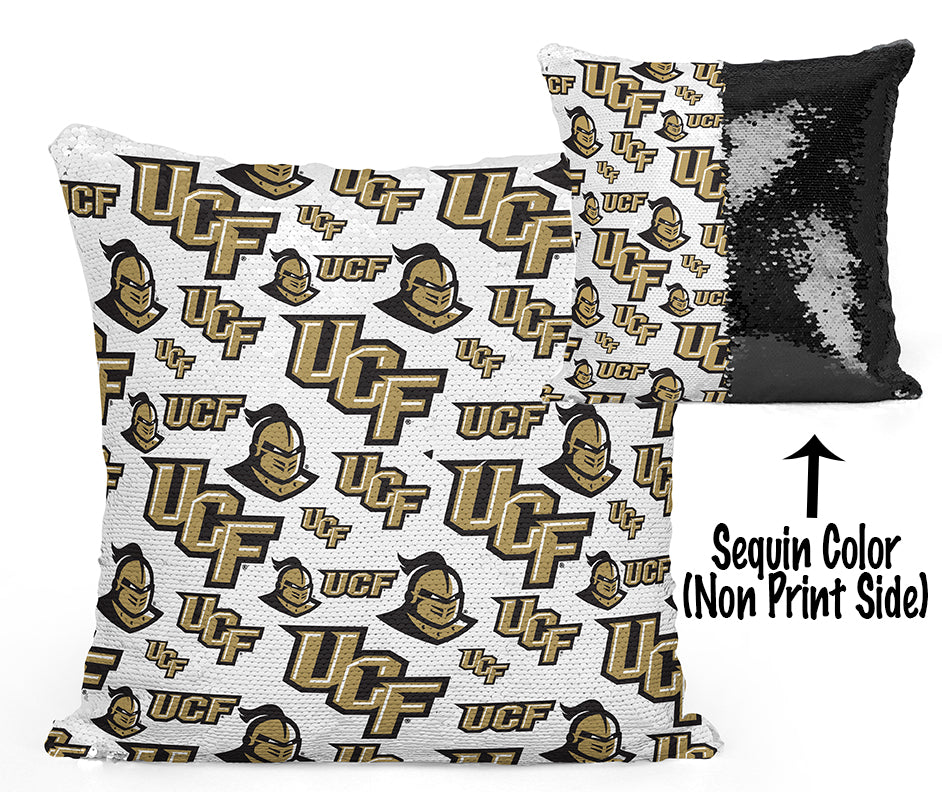 UCF Sequin Flip Pillow - University of Central Florida - Multi Logos Design