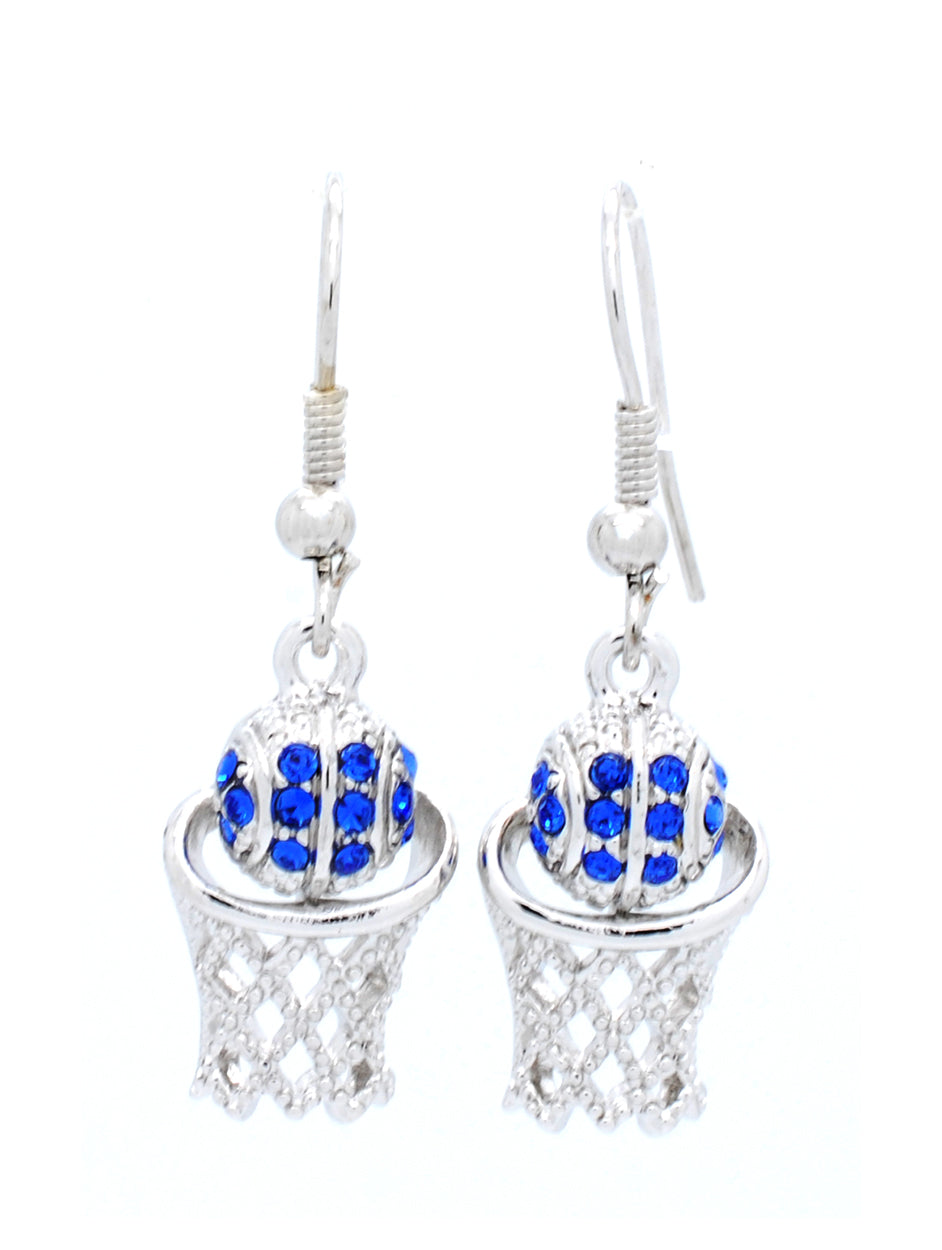 Basketball Hoop Earrings DANGLE - Royal Blue