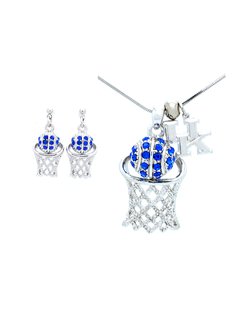 Kentucky Large Basketball Necklace & Earring Set - POST