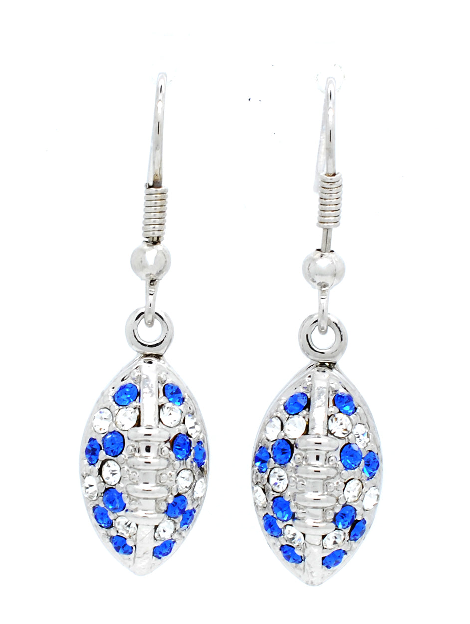 Football Earrings - Royal/Crystal
