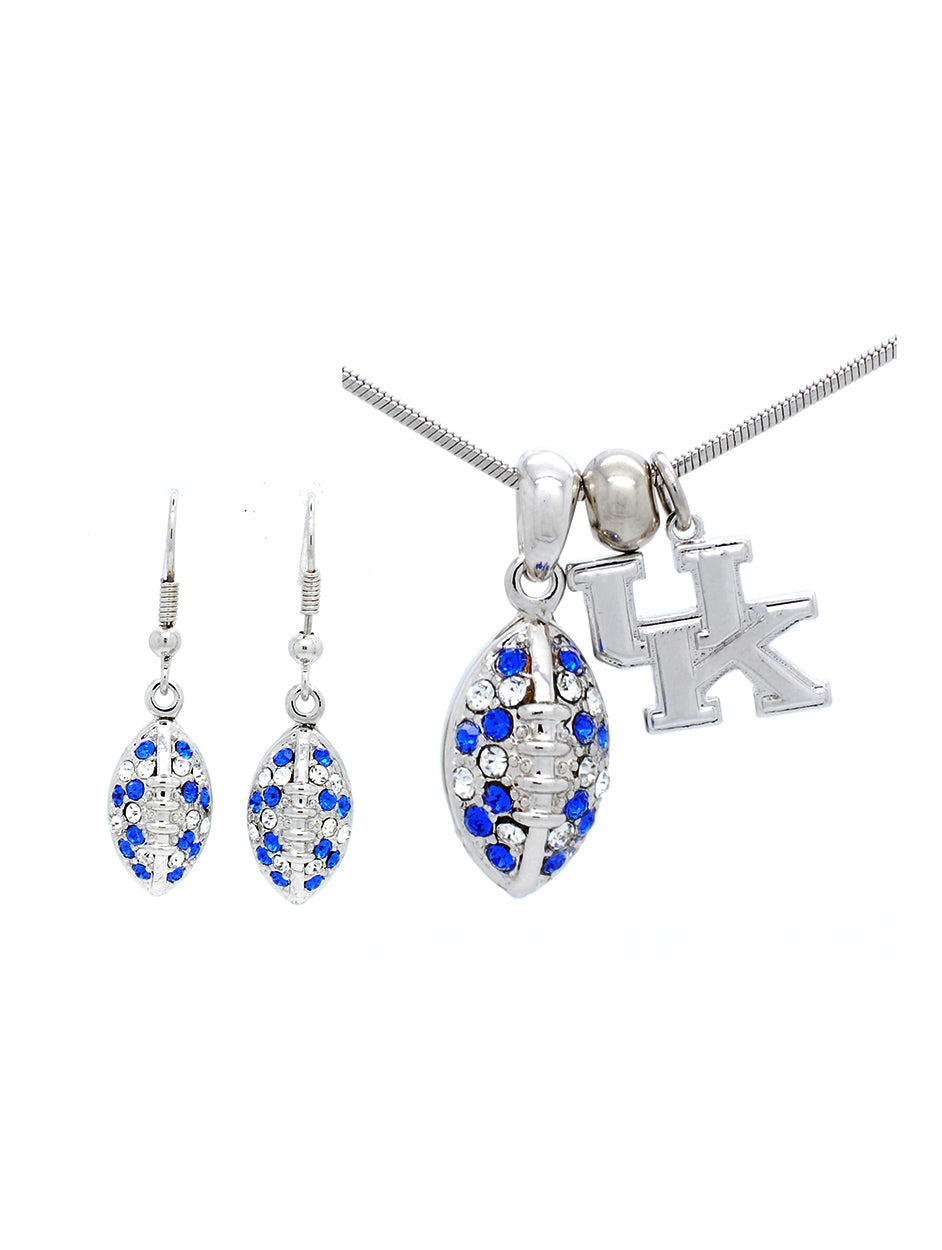 Kentucky Mini Football Necklace & Earring Set