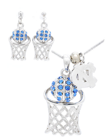 North Carolina Large Basketball Necklace & Earring Set - Post