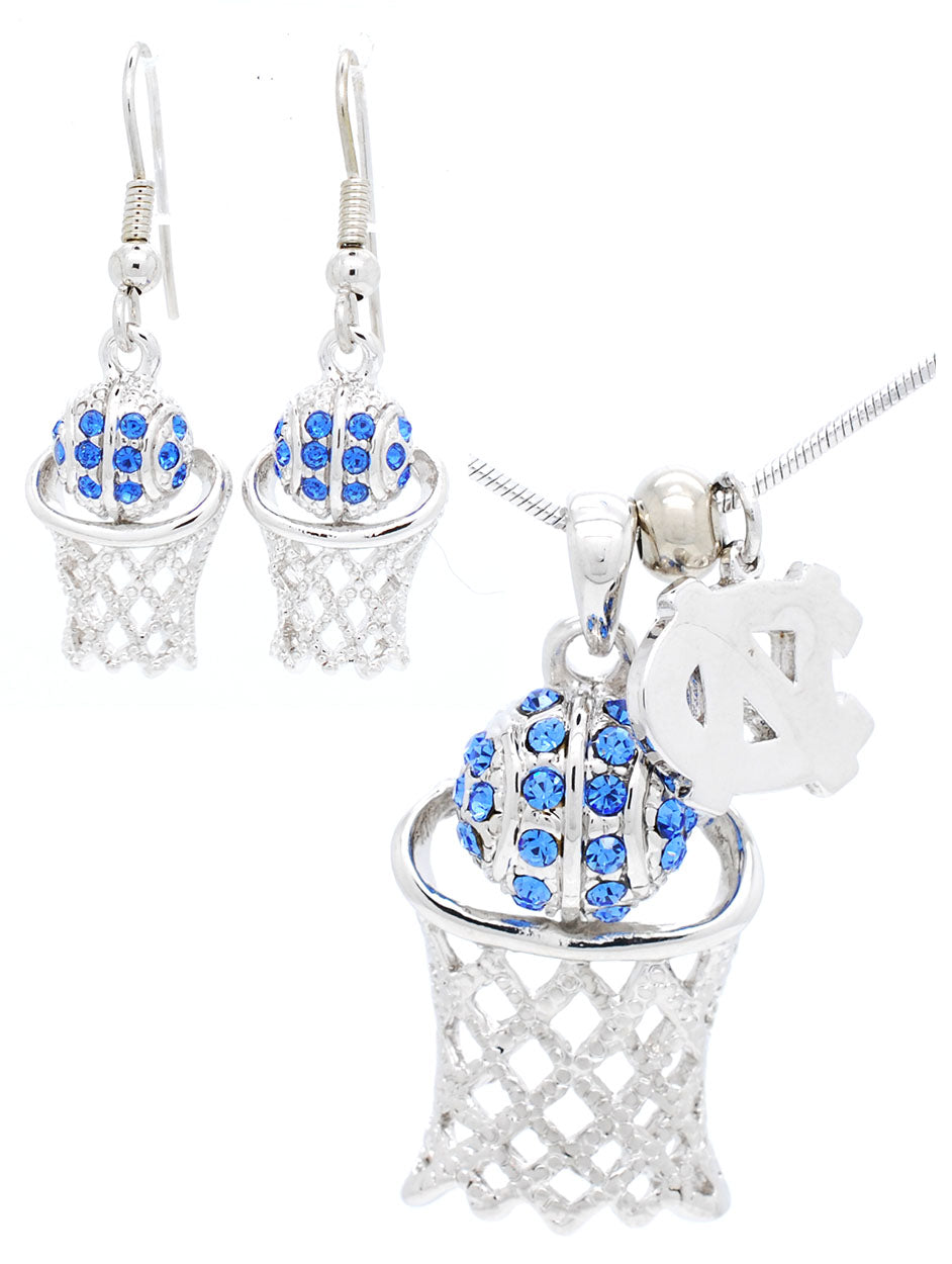 North Carolina Large Basketball Necklace & Earring Set - Dangle