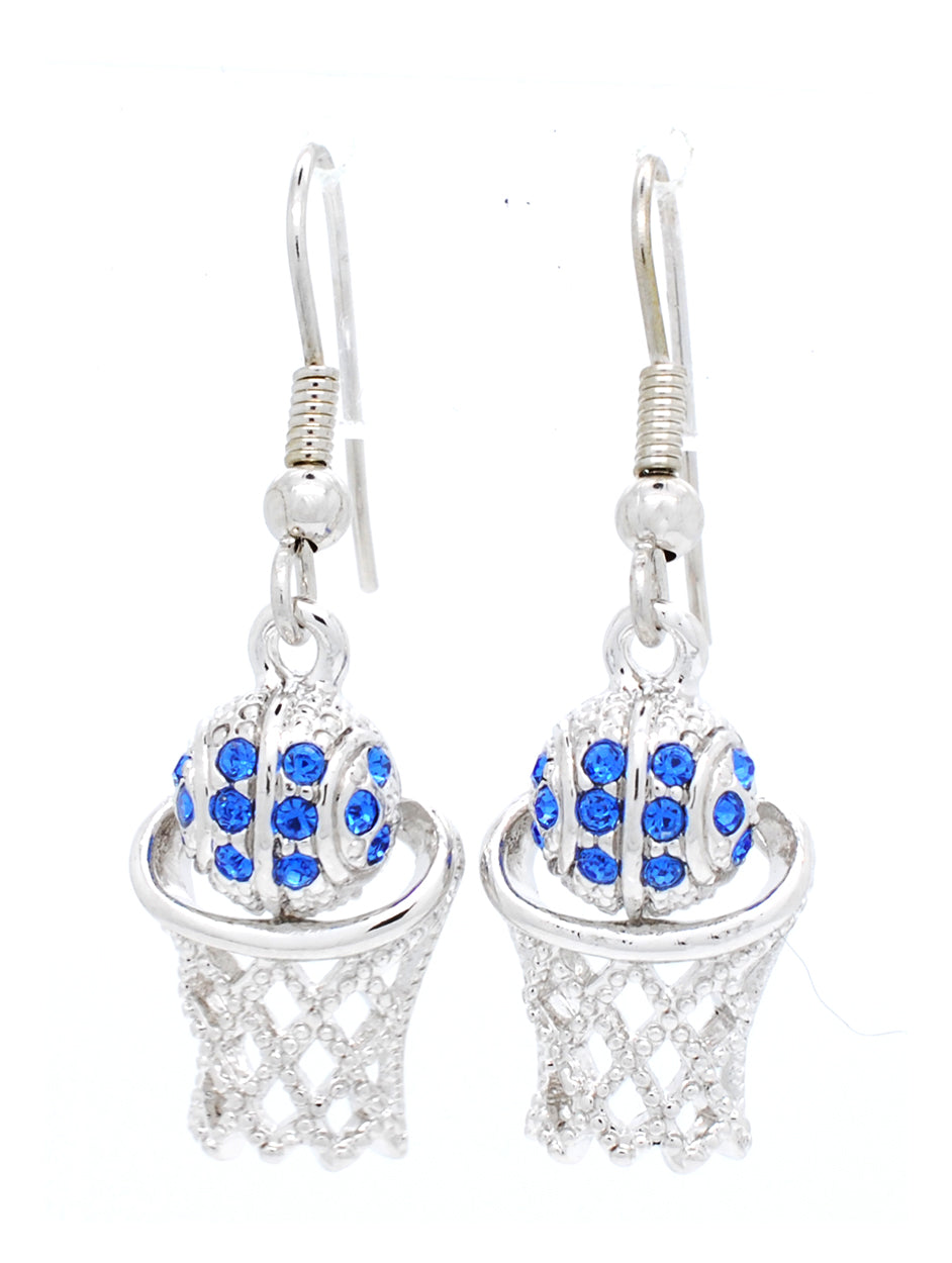 Basketball Earrings DANGLE - Carolina Blue
