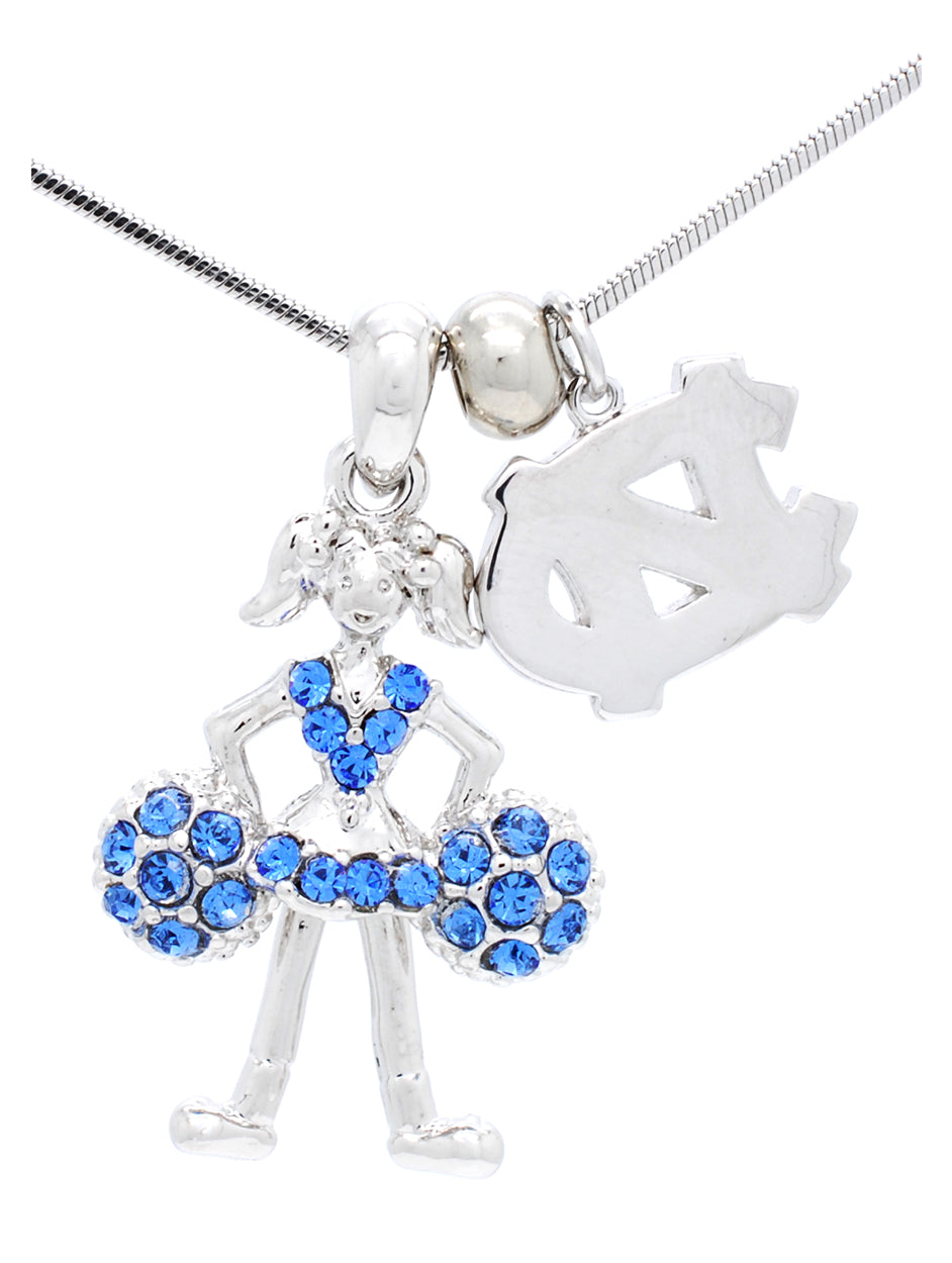 North Carolina Cheerleader Necklace - Poms Down