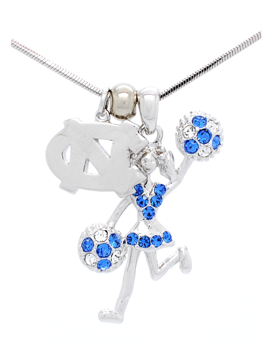 North Carolina Cheerleader Necklace - Poms Half
