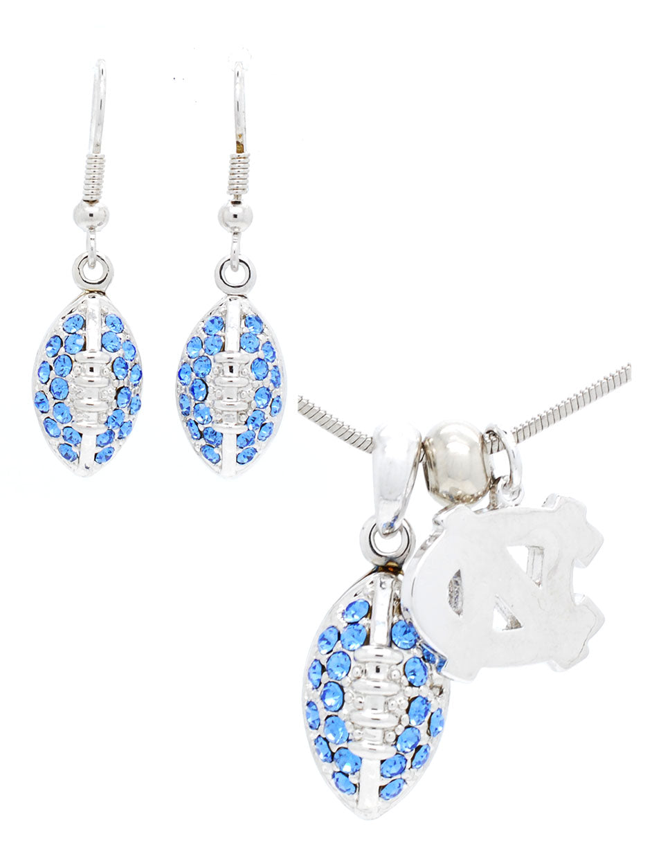 North Carolina Mini Football Necklace & Earring Set