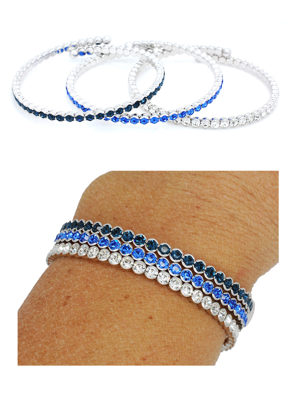 Deluxe Flex Bracelets - Carolina Blue/Crystal/Navy