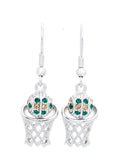 Basketball Earrings DANGLE - Green/Lt Gold