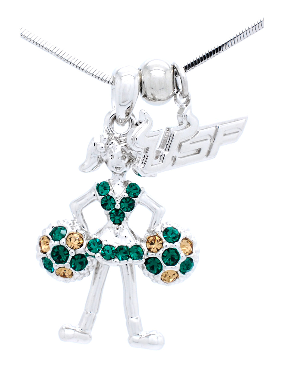 USF Cheerleader Necklace - Poms Down