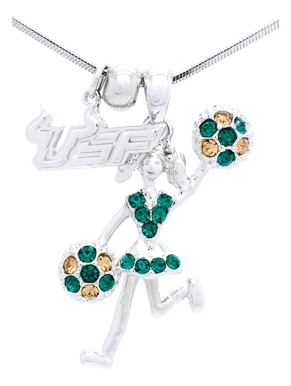 USF Cheerleader Necklace - Poms Half