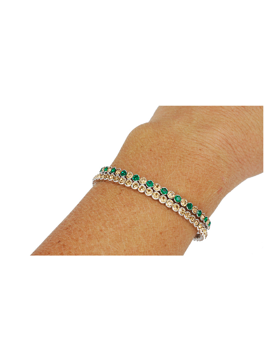 Deluxe Flex Bracelet - 2 Pack - Green/Lt Gold