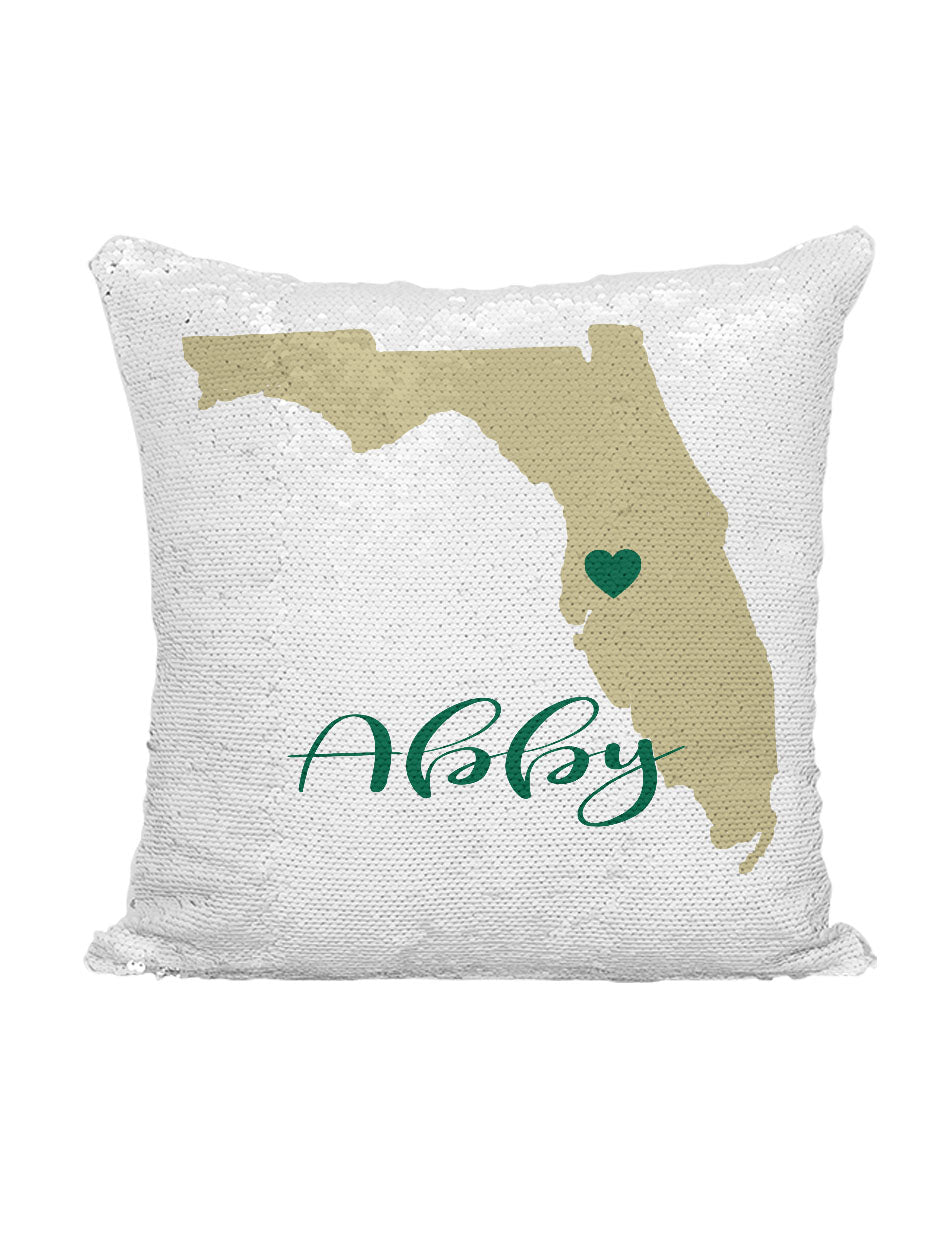 CUSTOM SEQUIN PILLOW - SOUTH FLORIDA GREEN & GOLD