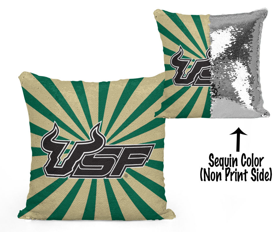 USF Sequin Flip Pillow - University of South Florida - Starburst Design