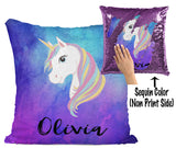 CUSTOM SEQUIN PILLOW - UNICORN WITH BLUE & PURPLE WATERCOLORS