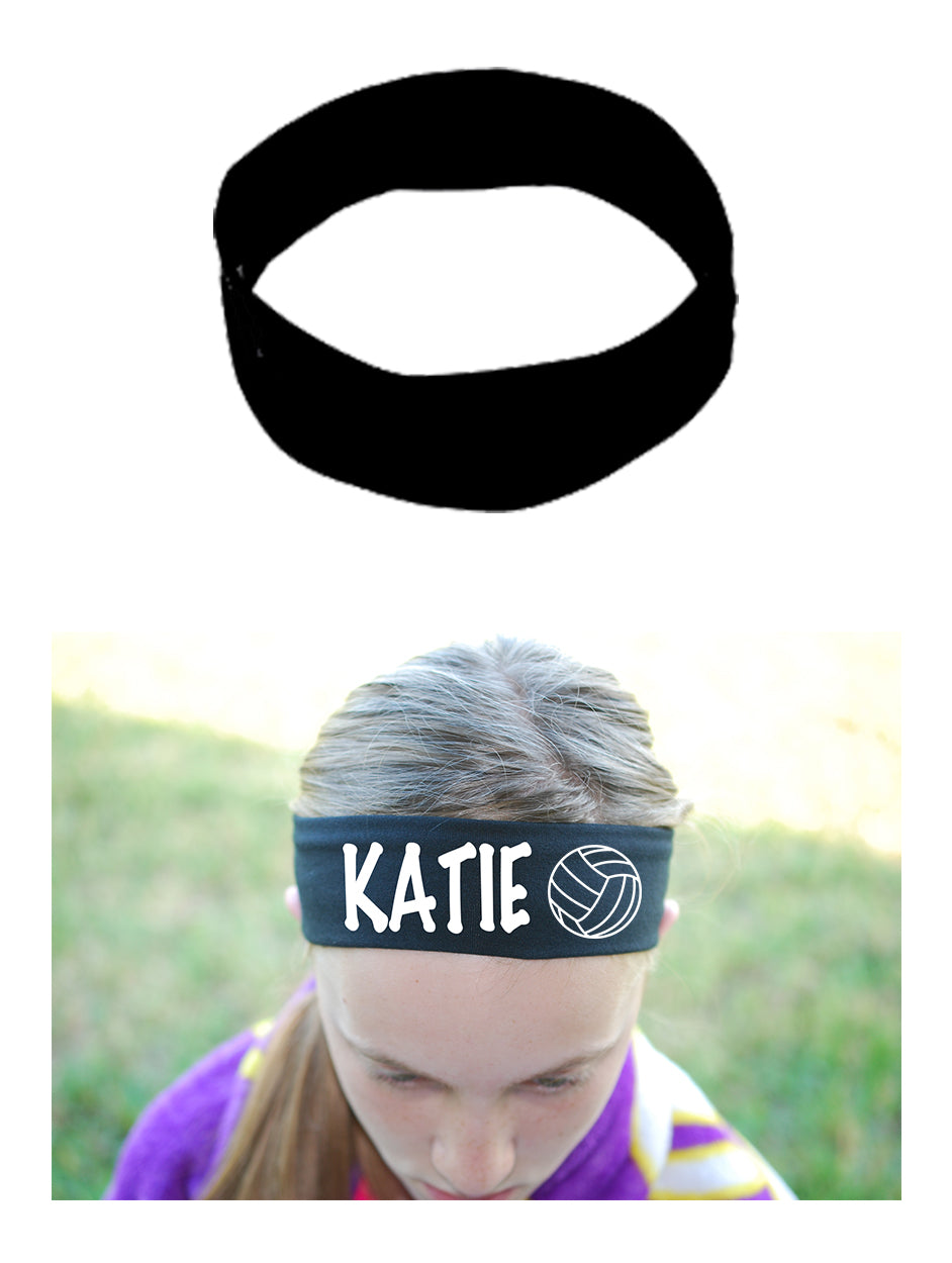 Custom VOLLEYBALL Cotton Headband - Flat (Non Sparkle) Letters!