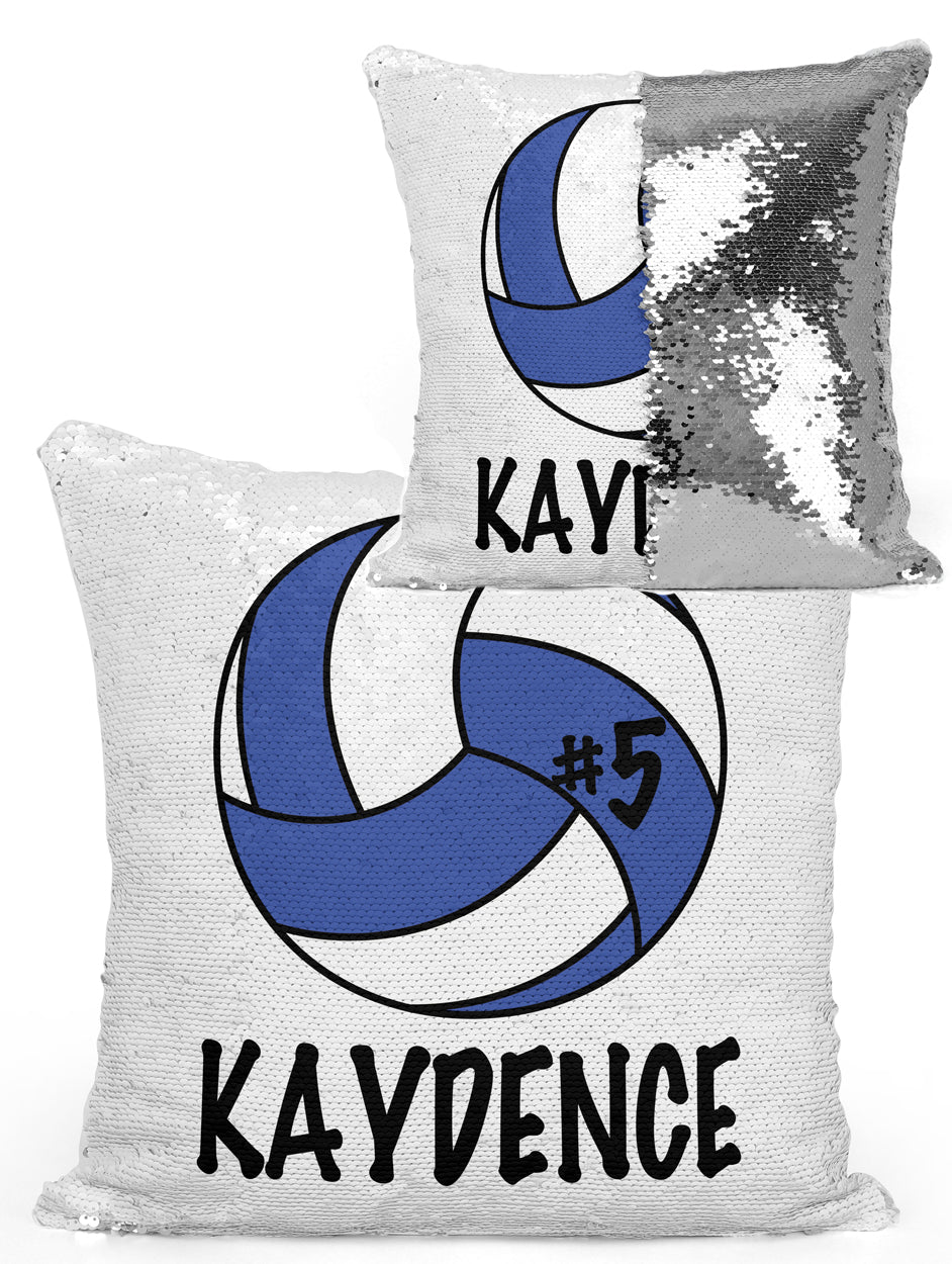 Personalized Volleyball Mermaid Sequin Flip Pillow Change Ball Color