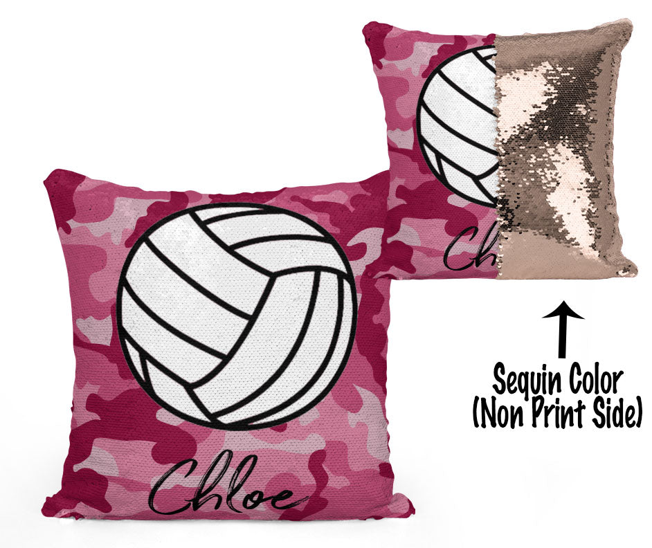 PERSONALIZED VOLLEYBALL MERMAID SEQUIN FLIP PILLOW -  CAMO
