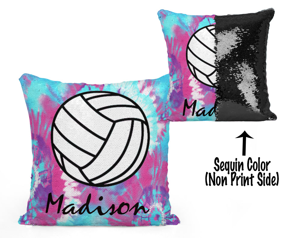 PERSONALIZED VOLLEYBALL MERMAID SEQUIN FLIP PILLOW -  Tie Dye