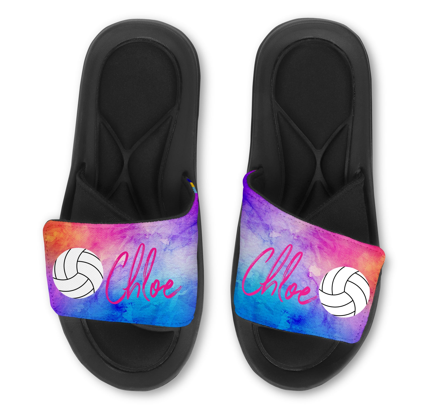 Volleyball Custom Slides / Sandals - Watercolor
