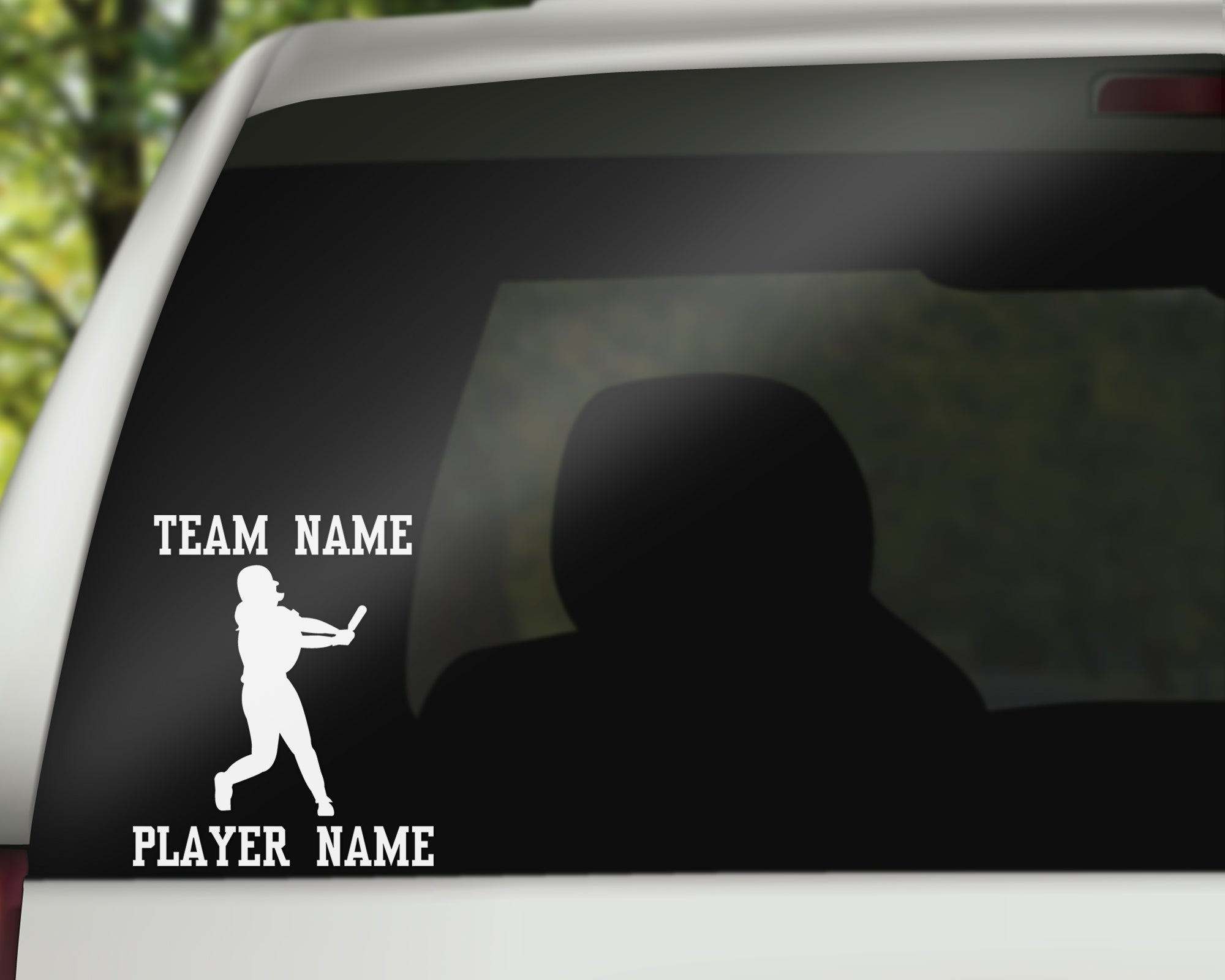 Custom Softball Fastpitch Car Window Decal - Batter