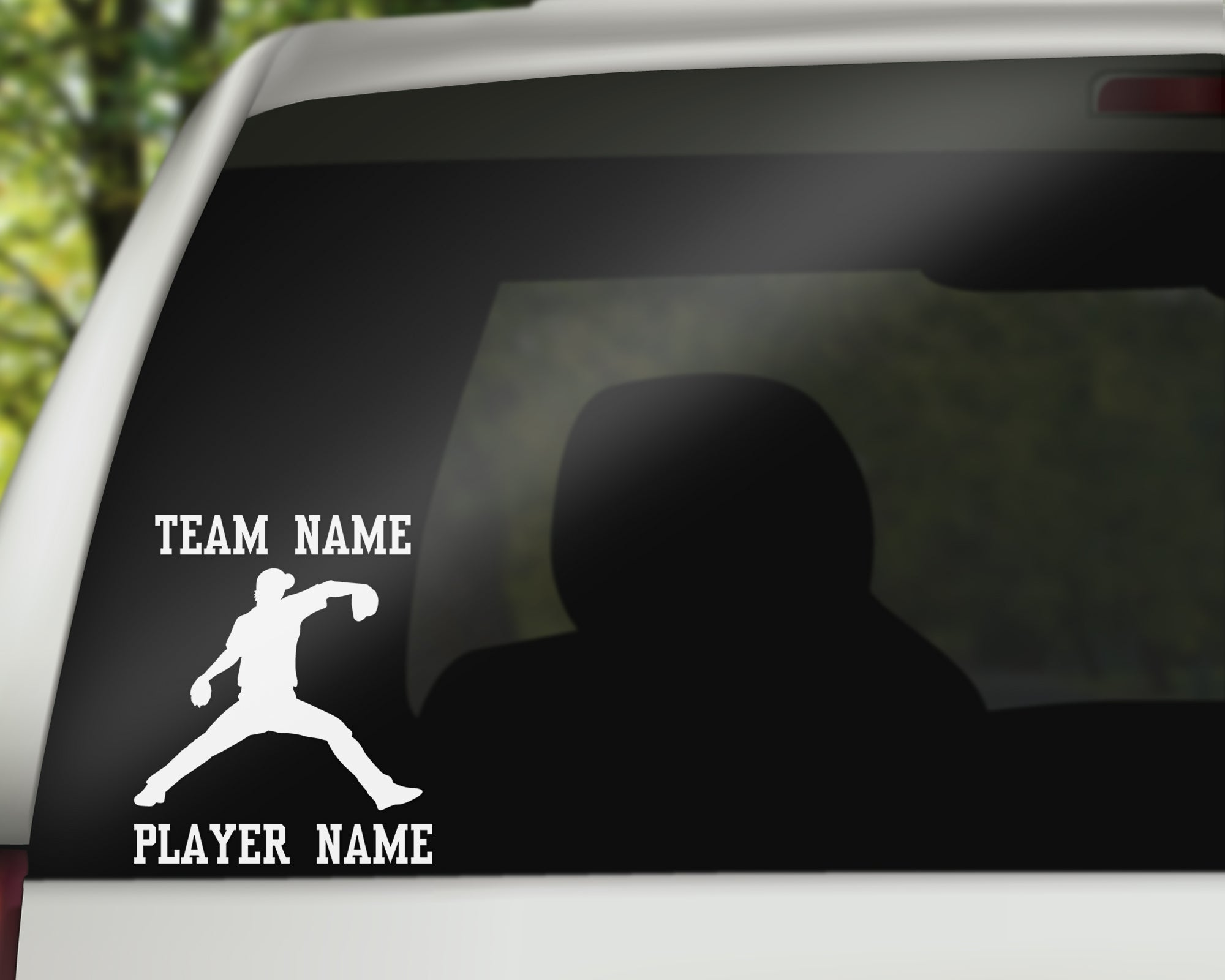 Custom Baseball Car Window Decal - Throwing