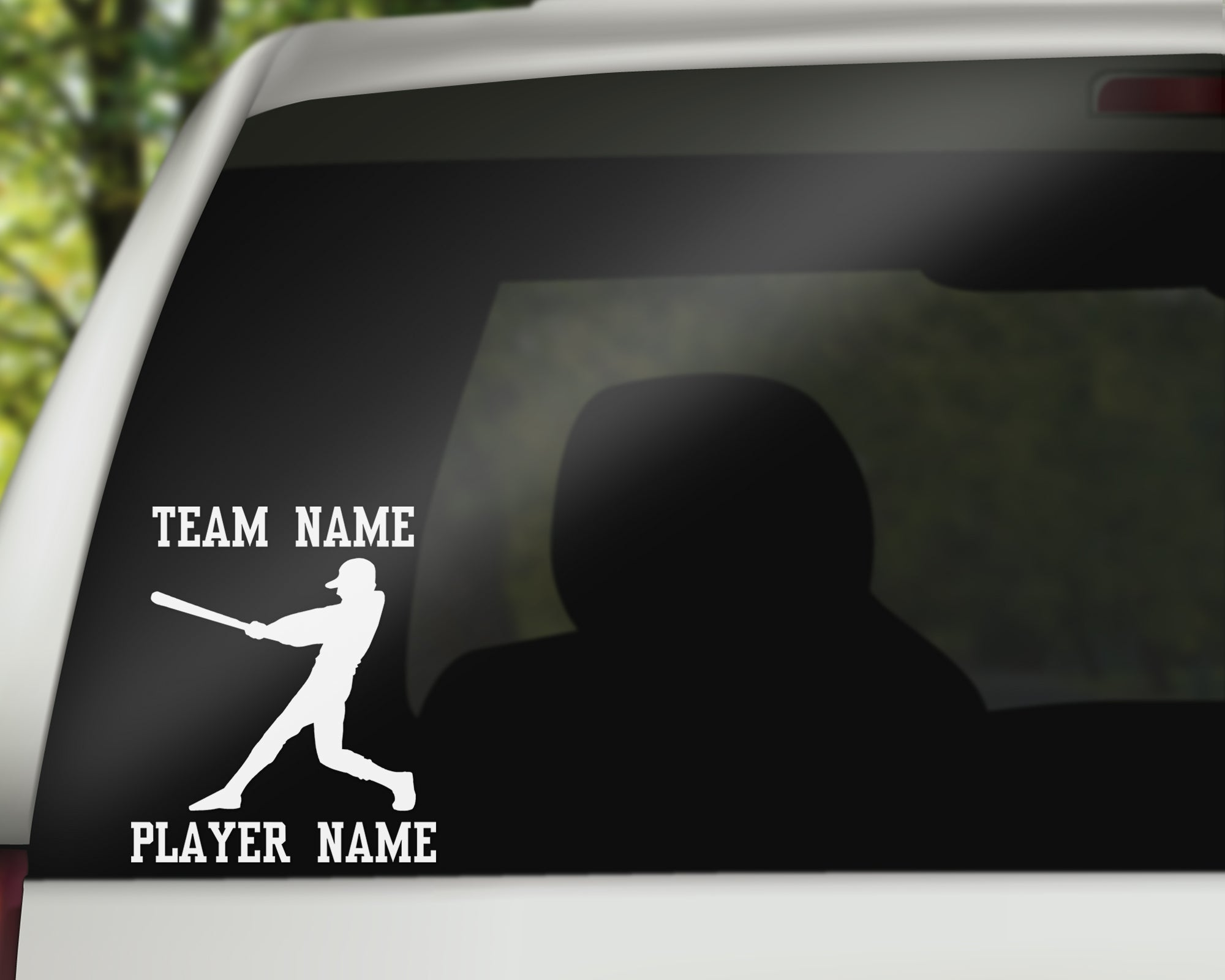 Custom Baseball Car Window Decal - Batter