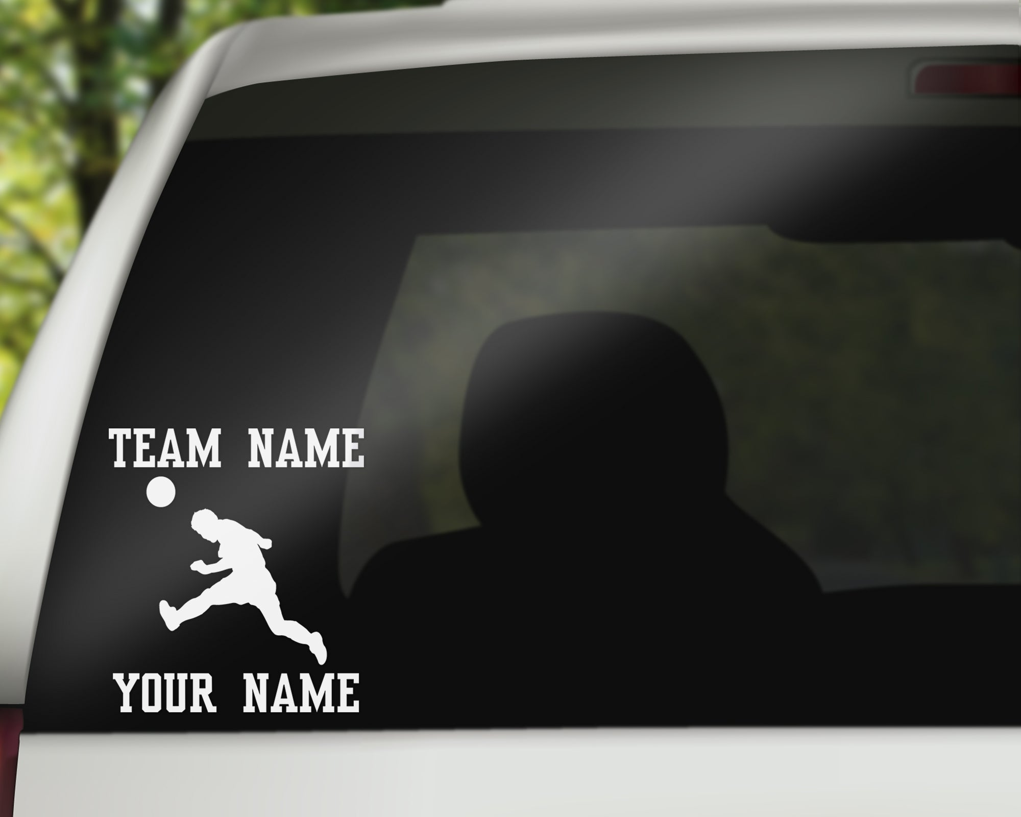 Custom Soccer Car Window Decal - Head Hit