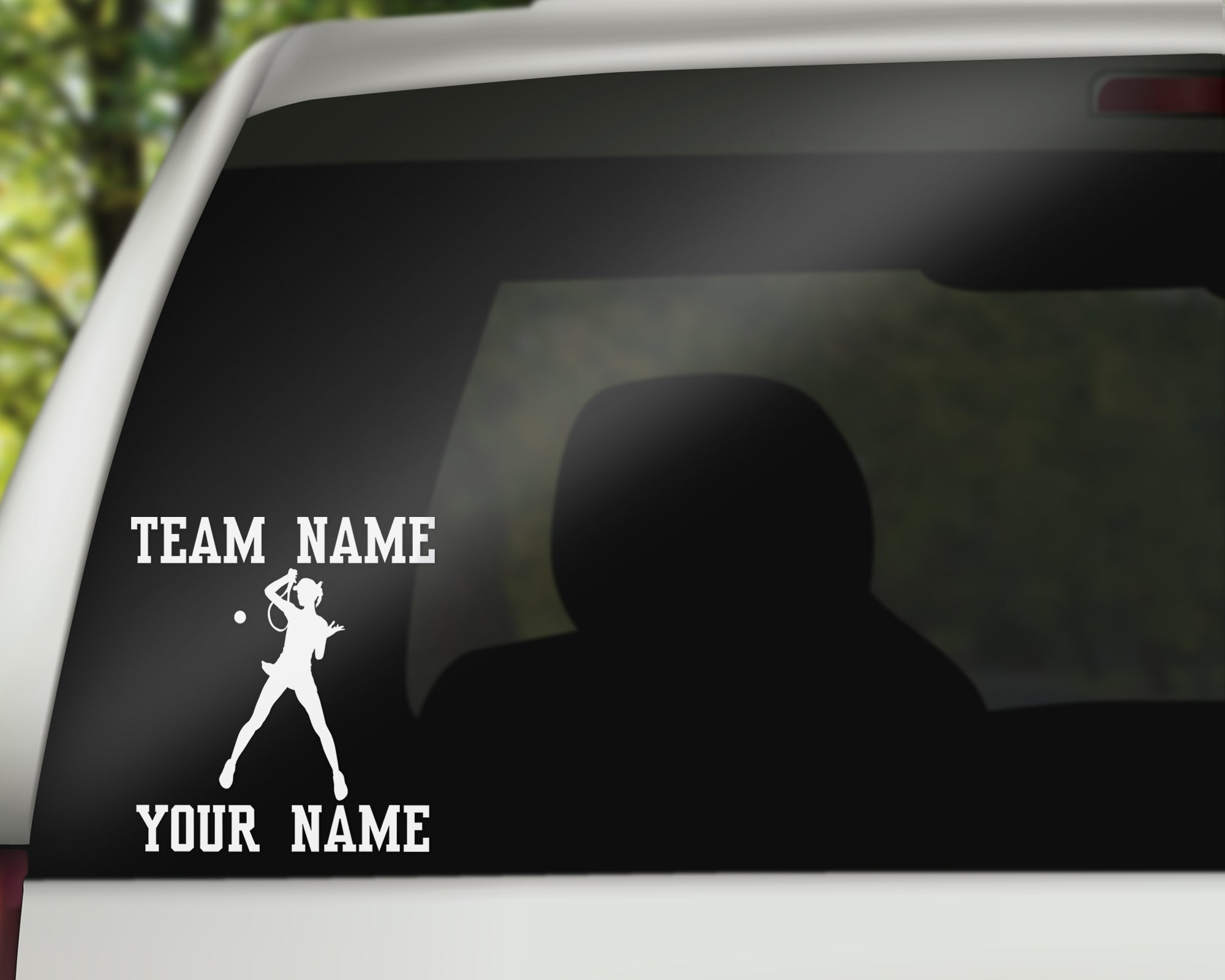 Custom Tennis Car Window Decal - Overhand Female