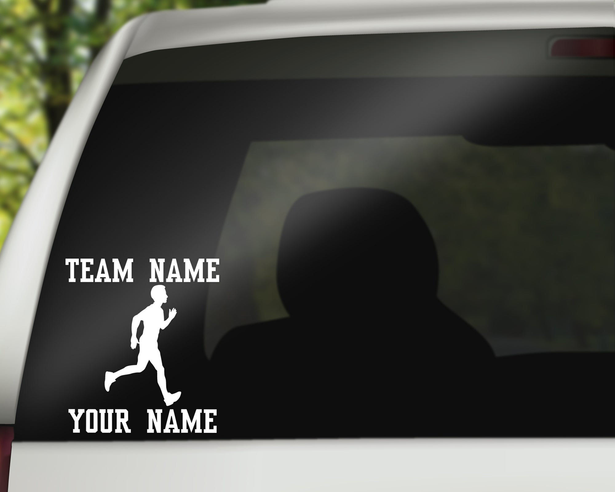 Custom Runner Track Window Decal - Male