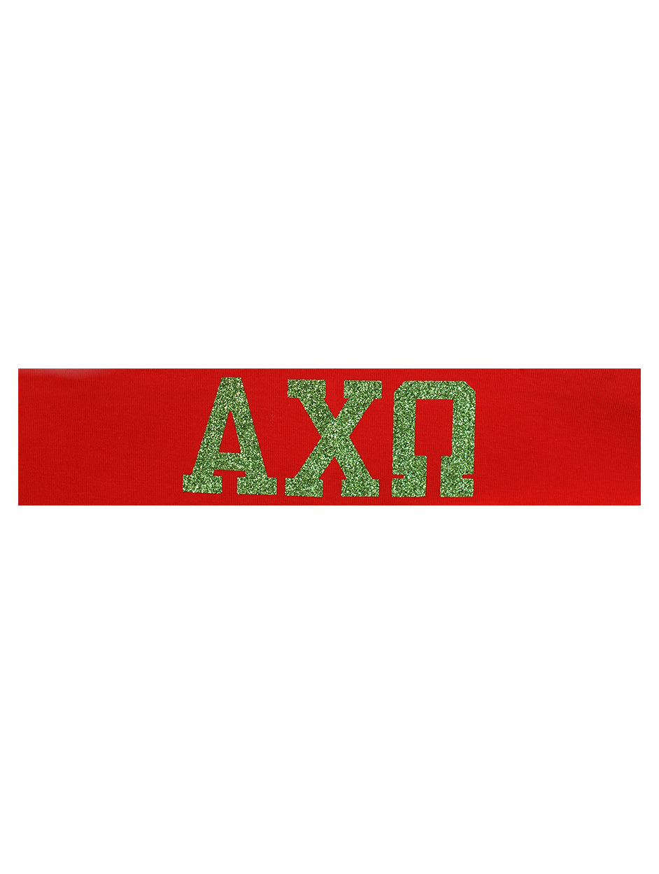 Alpha Chi Omega Headband Greek - Red/Green Sparkle