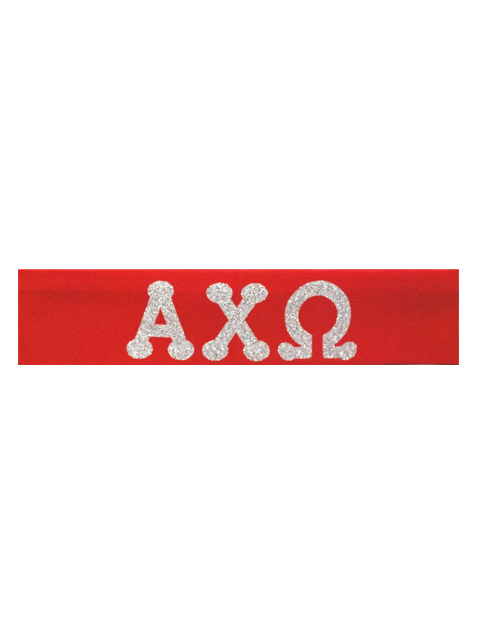 Alpha Chi Omega Headband Greek - Red/Silver Sparkle