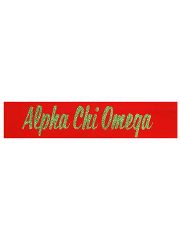 Alpha Chi Omega Headband Script - Red/Green Sparkle